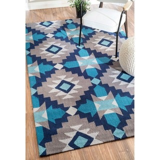 nuLOOM Hand-hooked Blue Rug (7' 6 x 9' 6)