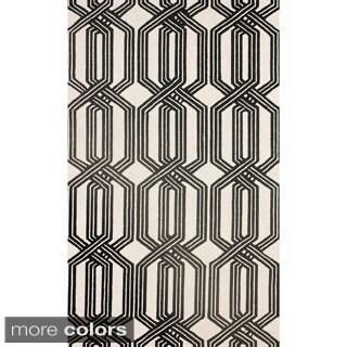 nuLOOM Hand-hooked Trellis Black Rug (8' 6 x 11' 6)