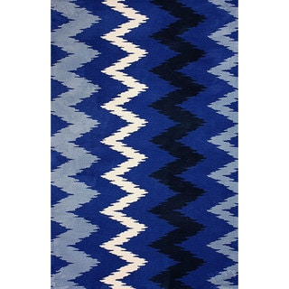 nuLOOM Machine-made Chevron Microfiber Blue Rug (7' 6 x 9' 6)