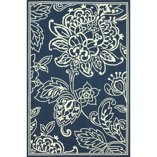 nuLOOM Hand-hooked Indoor/ Outdoor Floral Blue Rug (8' x 10')