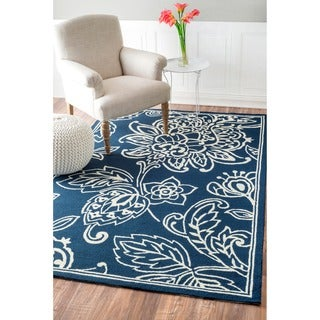 nuLOOM Hand-hooked Indoor/ Outdoor Floral Blue Rug (9' x 12')