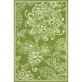 nuLOOM Hand-hooked Indoor/ Outdoor Floral Green Rug (8' x 10')