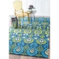 nuLOOM Hand-hooked Indoor/ Outdoor Ikat Blue Rug (8' x 10')