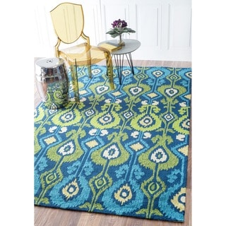 nuLOOM Hand-hooked Indoor/ Outdoor Ikat Blue Rug (9' x 12')