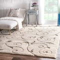 nuLOOM Machine-made Vine Swirls Cream Rug (9' 2 x 12')