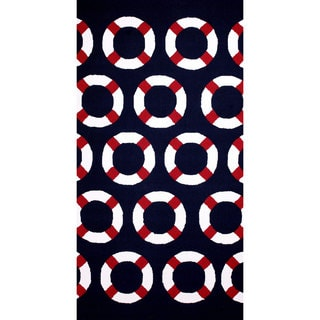 nuLOOM Hand-hooked Outdoor Navy Rug (8' x 10')