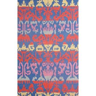 nuLOOM Hand-hooked Ikat Wool Blue Rug (8' 6 x 11' 6)