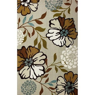 nuLOOM Hand-hooked Indoor/ Outdoor Floral Ivory Rug (8' x 10')