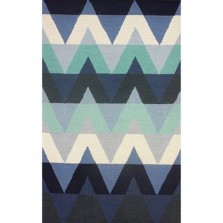 nuLOOM Hand-hooked Chevron Wool Blue Rug (8' 6 x 11' 6)