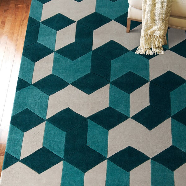 17 Best Images About Teal And Grey Rugs On Pinterest: Hand-tufted Beecher Geometric Teal Area Rug (8' X 11