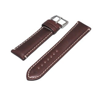 Hadley Roma Oil Tanned Genuine Leather Brown Watch Strap With Contrast Stitching