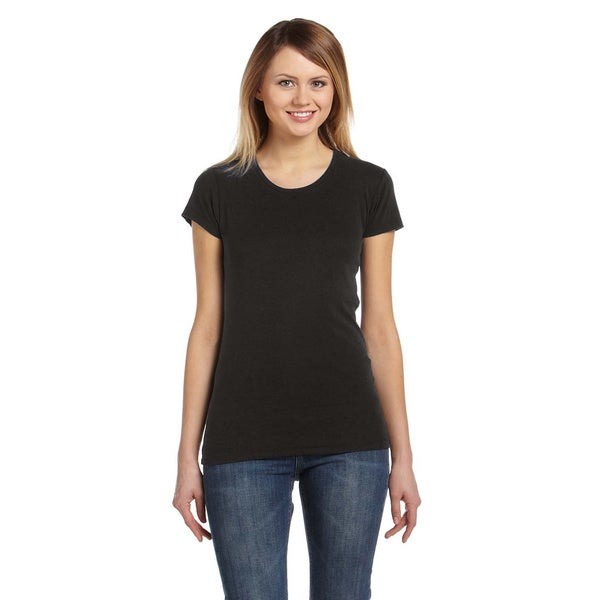 Women's Black Scoop Neck Cotton T-shirt