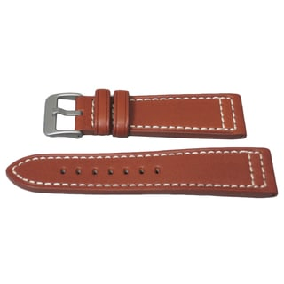 Hadley Roma Genuine Chesnut Saddle Leather Watch Strap With Contrast Stitching