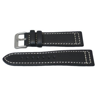 Hadley Roma Genuine Saddle Leather Watch Strap With Contrast Stitching