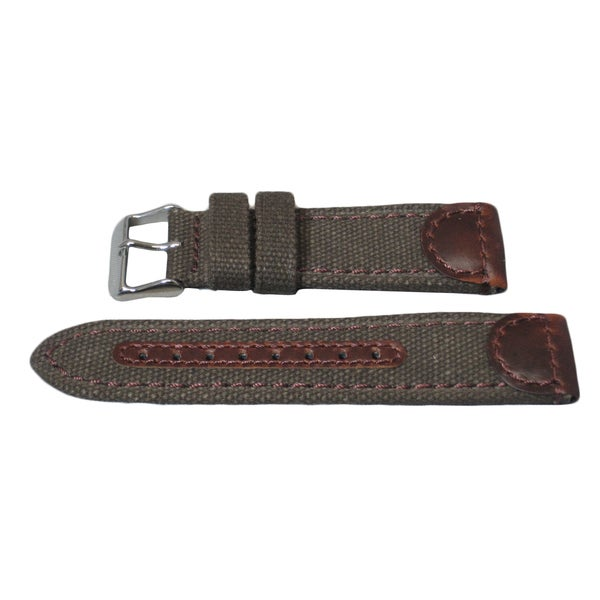 Hadley Roma Genuine Leather & Canvas Swiss Army Style Watch Strap