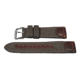 Hadley Roma Genuine Leather & Canvas Swiss Army� Style Watch Strap