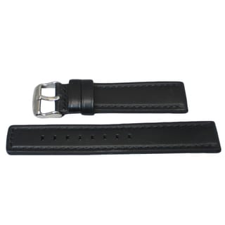 Hadley Roma Oil Tan Genuine Black Leather Watch Strap With Stitched Trim
