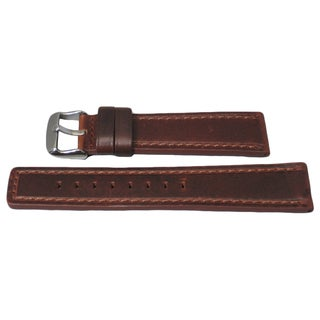 Hadley Roma Oil Tan Genuine Brown Leather Watch Strap With Stitched Trim