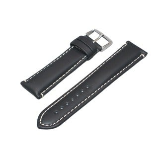 Hadley Roma Oil Tanned Genuine Leather Black Watch Strap With Contrast Stitching