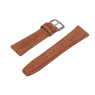 Hadley Roma Oil Tan Genuine Leather Rust Watch Strap With Stitched Trim