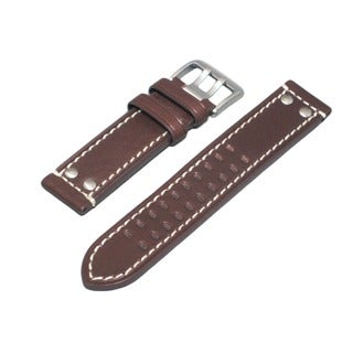 Hadley Roma Genuine Leather Watch Strap With White Contrast Stitching