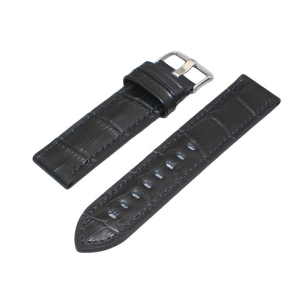 Hadley Roma Alligator Grain Black Leather Watch Strap