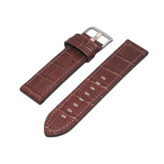 Hadley Roma Alligator Grain Brown Leather Watch Strap