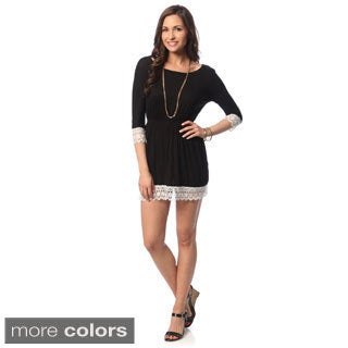 Hadari Women's Petite Lace Trim Dolman Dress