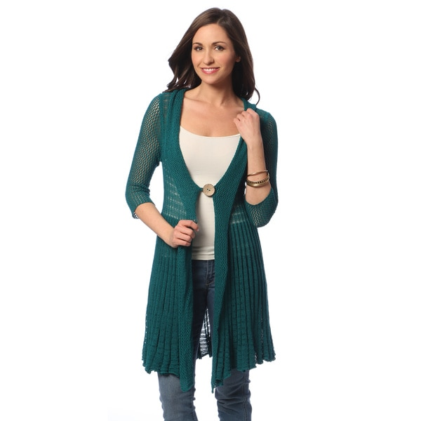 Hadari Women's Teal Single-button Duster Cardgian