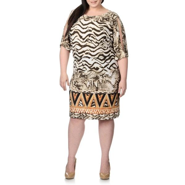 Lennie for Nina Leonard Plus Mix Tribal Print Blouson Cold Shoulder Dress