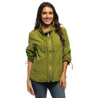 Live A Little Women's Green Ruffled Detail Active Jacket