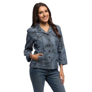 Women's Blue Leopard Print 3/4-sleeve Jacket