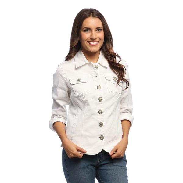 Live A Little Women's White Blazer Hem Jacket