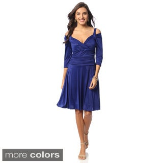 Evanese Women's Shiny Venezia Draped Sleeve Sweetheart Dress