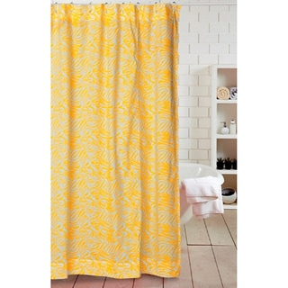 Cottage Home Yellow Zebra Stripes Cotton Shower Curtain