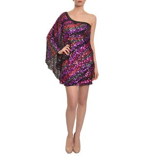 Mac Duggal Women's Multi-colored Fully Sequined One-sleeve Evening Dress