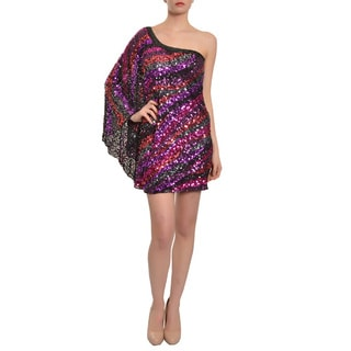 Mac Duggal Women's Multi-colored Fully Sequined One-sleeve Evening Dress (Size 4)