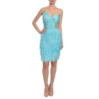 Mac Duggal Women's Aqua Blue Feathered One-shoulder Evening Dress