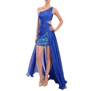 Mac Duggal 'Cassandra' Royal Blue Beaded One-shoulder Chiffon Dress