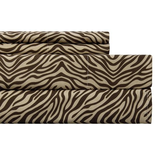 Zebra Chocolate Easy Care Sheet Set