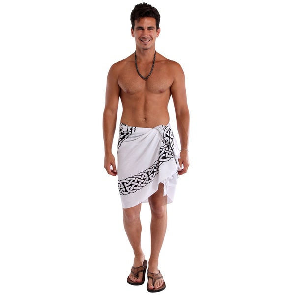 Men's Black/ White Horses Celtic Sarong (Indonesia)