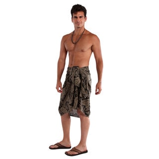 Men's Fringeless Black/ Brown Paisley Sarong (Indonesia)