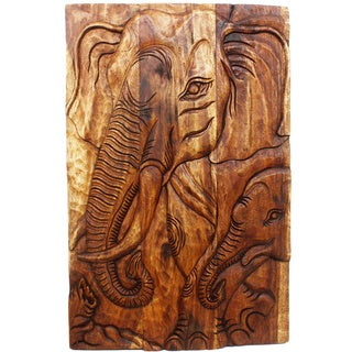 Hand-carved 'Gentle Giant Elephant Mother' 24 x 36-inch Walnut-finished Wooden Wall Panel (Thailand)