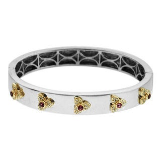 Sonia Bitton 14k Yellow Gold Sterling Silver 1/3ct TDW Diamond and Tourmaline Bangle Bracelet (H-I, SI1-SI2)