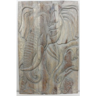 Hand-carved 'Gentle Giant Elephant Mother' 24 x 36-inch Monkey Wood Wall Panel (Thailand)