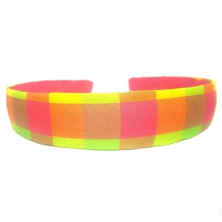 Bright Pink Plaid 3/4-inch Headband