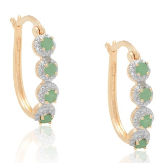 Dolce Giavonna Gold Overlay Emerald Hoop Earrings