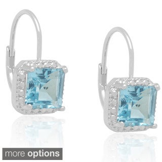 Dolce Giavonna Silverplated Gemstone and Diamond Accent Earrings