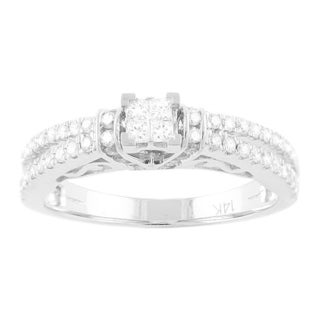 Beverly Hills Charm 14k White Gold 2/3ct TDW Princess Engagement Ring (H-I, SI2-I1)