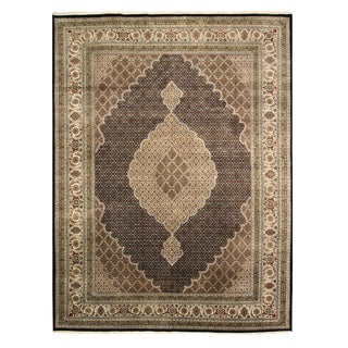 EORC Black Hand-knotted Wool and Silk Tabriz Mahi Rug (10' x 13')